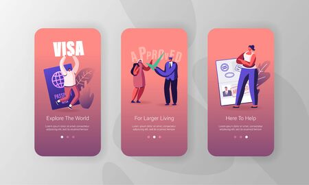 Travelers Approve Visa Mobile App Page Onboard Screen Set. People with Foreign and Native Passport, Traveling Immigration Stamp, Trip Concept for Website or Web Page, Cartoon Flat Vector Illustration