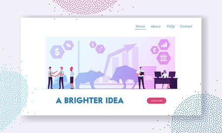 People Trading at Stock Market Website Landing Page. Businesspeople Analyse Global Economics for Buying or Selling Bonds and Currency. Bears and Bulls Web Page Banner. Cartoon Flat Vector Illustration