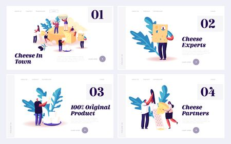Cheese Degustation Process Website Landing Page Set. Characters Eating Cheese with Fresh Creamy Flavour, Soft and Hard Texture. Delicious Nutrition Web Page Banner Cartoon Flat Vector Illustration
