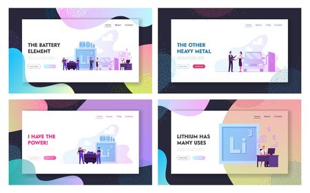 Lithium for Accumulators and Batteries Website Landing Page Set. People Using Chemical Element for Technics and Electronics, Chemistry Science Web Page Banner. , Cartoon Flat Vector Illustration