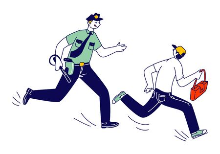 Male Police Officer at Work Catching Up Pickpocket Thief to Arrest Steal Bag from Victim. Policeman on Duty, City Patrol Man Constable Fight with Criminal. Cartoon Flat Vector Illustration, Line Art