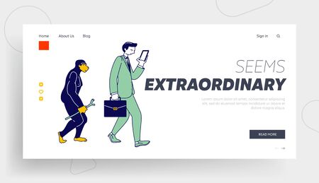 Human Evolution of Monkey to Business Man Website Landing Page. Male Character Evolve Steps From Ape to Upright Homo Sapiens, Darwin Theory Web Page Banner. Cartoon Flat Vector Illustration, Line Art