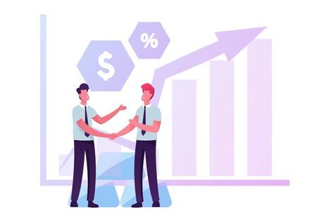 Couple of Businessmen Shaking Hands near Growing Arrow Graph with Currency Icons and Gold or Silver Bars Pile. Investment, Stock Market Exchange and Trading Concept, Cartoon Flat Vector Illustration
