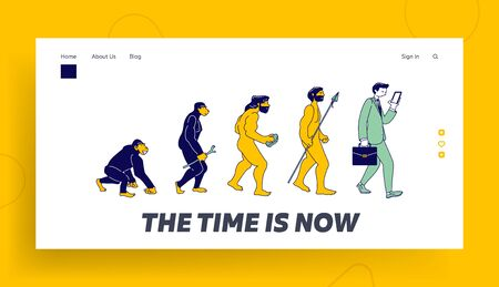 Darwin Theory Website Landing Page. Human Evolution of Monkey to Modern Business Man with Smartphone. Time Line Ape become Businessman Web Page Banner. Cartoon Flat Vector Illustration, Line Art Vecteurs