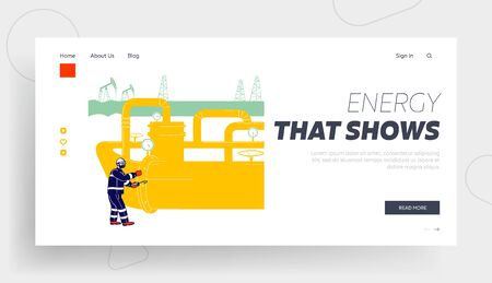 Pipeline Operator Check and Inspect Oil Pump Website Landing Page. Worker with Equipment Work in Gas Industry. Technician Maintenance Service Web Page Banner. Cartoon Flat Vector Illustration Line Art