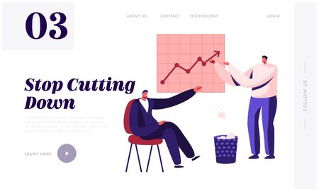Less Paper Using and Stop Trees Cutting Website Landing Page. Businessman Sitting at Growing Arrow Chart Throw Crumpled Paper Sheets to Litter Bin Web Page Banner. Cartoon Flat Vector Illustration