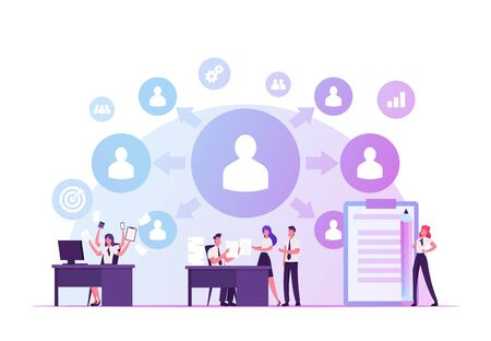 Delegation of Authority Concept. Overload Business Woman Delegate Tasks to Employees. Office People Share Work, Create Stable Structure of Professional Management Cartoon Flat Vector Illustration