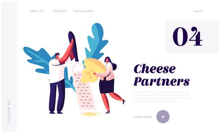 Origin Dairy Product Taste Website Landing Page. Characters Grate Piece of Fresh Cheese on Huge Grater. Natural Farm Production, Culinary Ingredient Web Page Banner. Cartoon Flat Vector Illustration