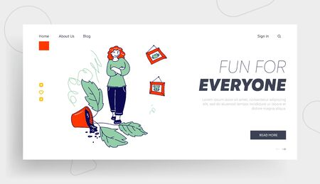 Naughty Kids Make Mess at Home Website Landing Page. Woman Stand with Crossed Hands in Room with Broken Potted Plant and Scribbles on Wall Web Page Banner. Cartoon Flat Vector Illustration, Line Art