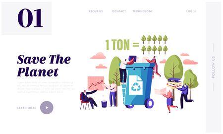 Weniger Papierverbrauch, Stoppen Sie die Abholzung und das Schneiden von Bäumen auf der Website-Landingpage. Winzige Charaktere werfen Papierabfälle in den Papierkorb, Eco Conservation Web Page Banner. Flache Vektorillustration der Karikatur