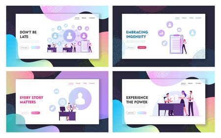 Delegation of Responsibilities, Productivity and Working Efficiency Website Landing Page Set. Business Leaders Consign Work to Employees in Office Web Page Banner. Cartoon Flat Vector Illustration