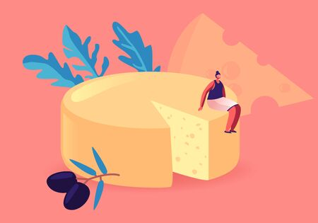 Tiny Gourmet Female Character Sitting on Huge Round Block of Fresh Yellow Cheese with Olives. Dairy Culinary Production, Farm Organic Nutrition, Breakfast Appetizer Cartoon Flat Vector Illustration Illusztráció
