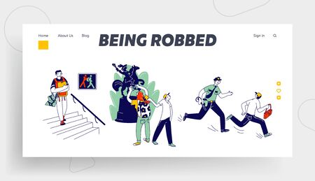 Pickpocket Steal Money from Tourists Website Landing Page. Police Catch Up Thief who Stole Tourist Bag, People in Museum Crime Warning Web Page Banner. Cartoon Flat Vector Illustration, Line Art Ilustração Vetorial