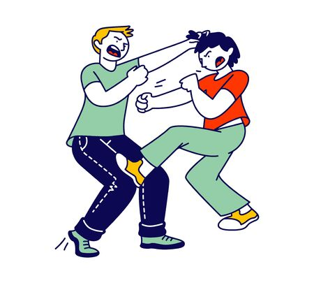 Naughty Hyperactive Children Fighting, Couple of Little Boys Playing and Making Mess. Little Kids Fooling and Fight Around, Aggressive Behaviour, Quarrel Cartoon Flat Vector Illustration, Line Art
