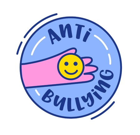 Anti Bullying Banner or Icon. Human Hand Holding Yellow Smile Face inside of Blue Circle Isolated on White Background. Cute Badge or Sticker, Design Element with Typography Cartoon Vector Illustration