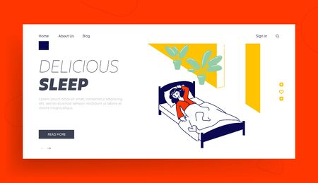 Little Girl Sleeping in Kindergarten or Elementary School Website Landing Page. Nap Time, Kid Rest and Relaxing, Snooze and Kip in Bed Web Page Banner. Cartoon Flat Vector Illustration, Line Art 向量圖像