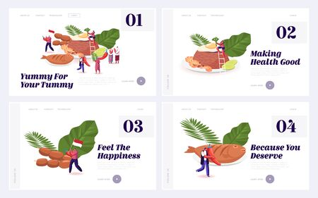 Oriental Indonesian Cuisine, Traditional Meals and Dishes Website Landing Page Set. Asian Malaysian Food Menu Penyetan Fish, Chicken Satay, Nasi Goreng Web Page Banner Cartoon Flat Vector Illustration