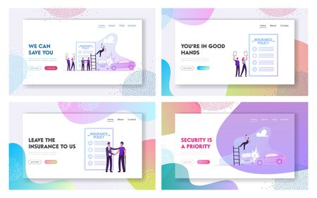 Accident Insurance, Secure and Financial Guarantee Website Landing Page Set. Compensation for Injury, Trauma at Workplace, Car Crash. Policy Document Web Page Banner. Cartoon Flat Vector Illustration