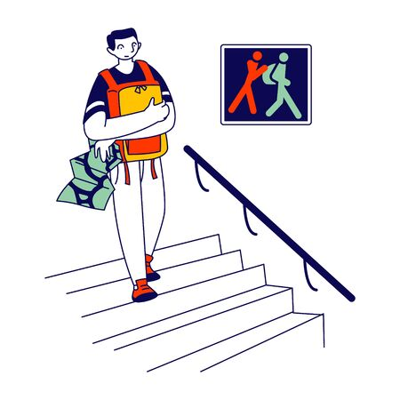 Frightened Tourist Holding his Backpack on Chest Hiding from Pickpockets while Visiting Museum or Famous Landmarks in Foreign City. Warning on Wall Thieves Cartoon Flat Vector Illustration, Line Art Ilustração Vetorial