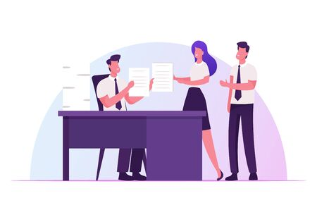 Company Boss Sitting at Office Desk Giving Tasks to Business Employees Delegating Responsibilities. Leadership, Authority, Effective and Productive Management Concept Cartoon Flat Vector Illustration