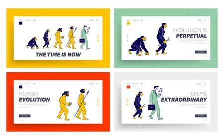 Human Evolve Steps from Ape to Businessman with Gadget Website Landing Page Set. Darwin Theory, Anthropology Development Process, Prehistory Web Page Banner. Cartoon Flat Vector Illustration, Line Art