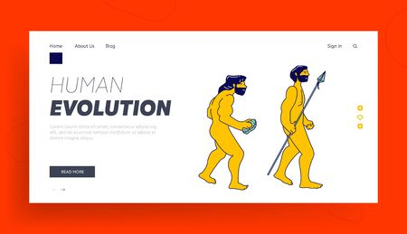 Evolution, Darwin Theory Website Landing Page. Cro-magnon Caveman with Stone Evolve to Homo Sapiens with Spear in Hand, Anthropology History Web Page Banner. Cartoon Flat Vector Illustration, Line Art
