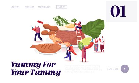 Traditional Indonesian Cuisine Website Landing Page. Tiny People around Huge Dish Brown Rice with Fried Eggs and Shrimps, Roasted Fish and Veggies Web Page Banner. Cartoon Flat Vector Illustration