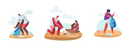 Set of Volunteer People Cleaning Garbage on Beach Area and Saving Tortures.Volunteering, Men and Women Collecting Trash on Coastal Line or Seaside. Social Charity Cartoon Flat Vector Illustration
