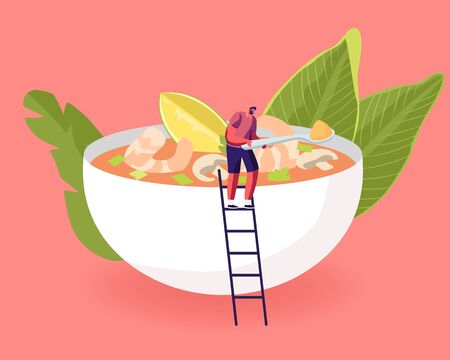 Tiny Male Character Stand on Ladder at Huge Bowl with Traditional Thailand Dish Tom Yam Kung, Sour Soup
