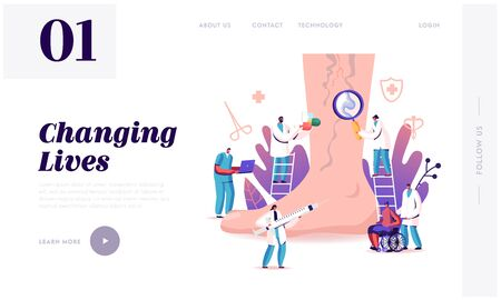 Vein Thrombosis, Varicose Treatment Landing Page Template. Tiny Doctor Characters with Medical Instruments and Drugs at Huge Foot with Diseased Veins, Health Care. Cartoon People Vector Illustration Ilustrace