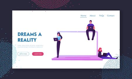 Nfv Network Function Virtualization, Virtual Machines Technologies Landing Page Template. People Characters Working on Pc at Huge Laptop Use Virtualized Cloud Computing. Cartoon Vector Illustration Illustration