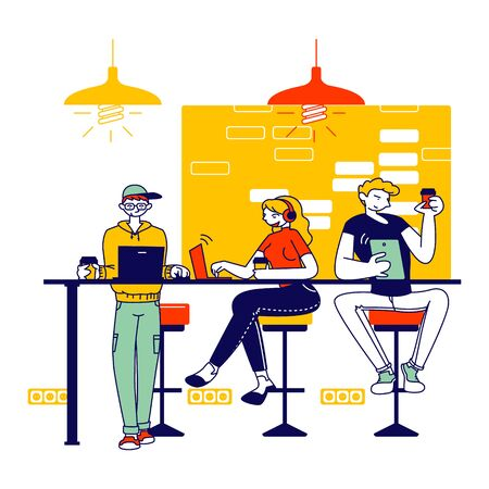 Male and Female Characters Sitting in Cafe Messaging Online in Social Networks, Chatting in Mobile Phone Using Free Wifi Internet, Drink Coffee. People in Recreation Place. Linear Vector Illustration