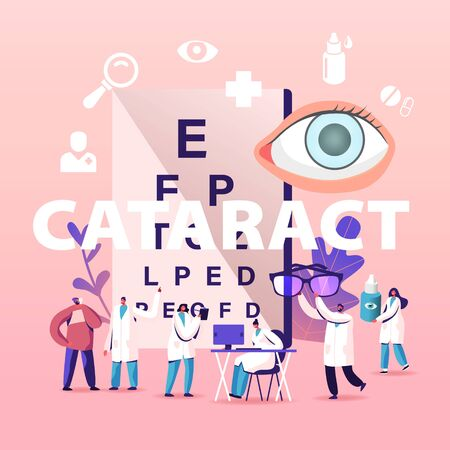 Cataract Concept. Tiny Doctors Characters Treating Clouding of Lens in Eye which Leads to Vision Decrease, People patients Eyesight Check Up Medical Poster Banner Flyer. Cartoon Vector Illustration 向量圖像