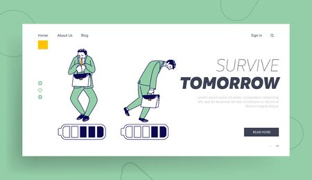 Haggard Businessman Character with Low Battery Charging Level Landing Page Template. Tired People Working from the Last Forces. Exhausted Employee Deadline, End of Week. Linear Vector Illustration Ilustração