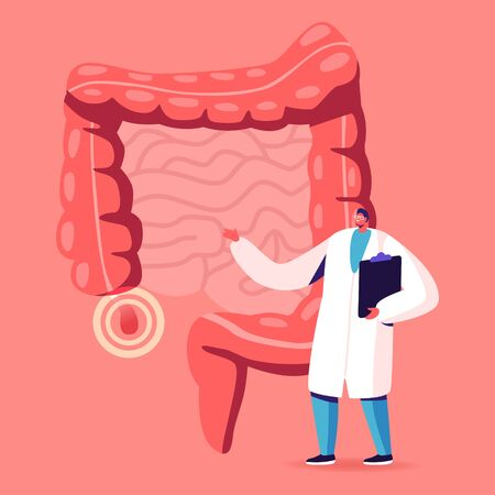 Doctor or Medical Teacher Character Stand at Human Intestines with Sore Appendix Infographics Decide Strategy of Treatment. Abdominal Pain, Gastrointestinal System Disease. Cartoon Vector Illustration Vecteurs