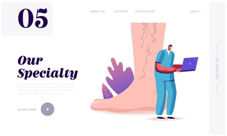 Feet Health Care, Podiatry Landing Page Template. Tiny Doctor Character with Laptop at Huge Foot with Diseased Veins Searching Info about Thrombosis and Varicose Treatment. Cartoon Vector Illustration