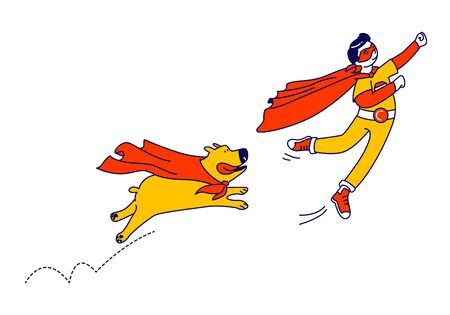 Happy Boy and Dog Superhero Characters Flying. Kid Super Hero in Red Cloak and Glasses Ready to Win. Happy Smiling Child Go Back to School, Kindergarten, Success, Winner. Linear Vector Illustration