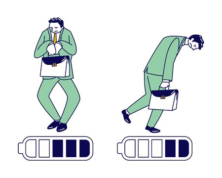 Haggard Businessman Character with Low Battery Charging Level. Tired People Working from the Last Forces. Exhausted Employee Deadline, Overload with Work, End of Week. Linear Vector Illustration