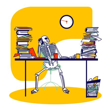 Functioning Capacity, Hard Working Concept. Skeleton Businessperson Character Sitting at Office Desk with Piles of Paper Documents Talking by Mobile Phone Looking on Clock. Linear Vector Illustration Vecteurs