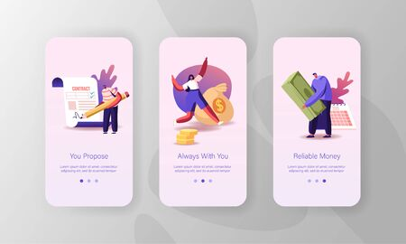 Financial Problems, Loan, Budget Crisis Mobile App Page Onboard Screen Template. Tiny People Characters Take Money Credit at Micro Finance Organization or Bank Concept. Cartoon Vector Illustration Vettoriali