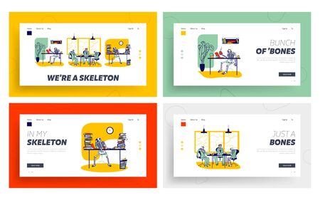 Skeletons Workaholics and Overload Workers Landing Page Template Set. Dead Managers Conduct Negotiation, Work in Office. Functioning Capacity, Hard Working Characters. Linear Vector Illustration