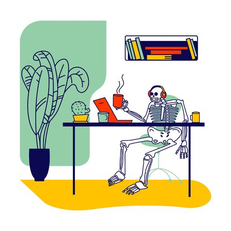 Skeleton Character Wearing Headset Sitting at Office Desk with Coffee Cup in Hand Looking in Laptop Screen. Workaholic at Job, Deadline or Work Overload, Commitment Concept. Linear Vector Illustration Vector Illustration