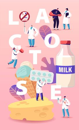Lactose Intolerance Concept. Man Feel Bad in Stomach Visit Hospital for Treatment. Dairy Products Intolerant Character and Doctors. Health Care Poster Banner Flyer. Cartoon People Vector Illustration