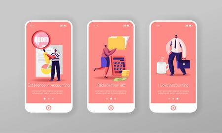 Audit Analysis Inspection Mobile App Page Onboard Screen Template. Tiny People Characters Analysing Accounting Data, Earnings Savings Report and Business Statement Concept. Cartoon Vector Illustration