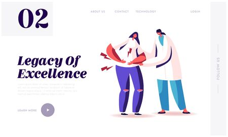 Appendicitis Inflammation Disease Landing Page Template. Doctor Character Trying to Help Sick Woman Touching Painful Stomach Suffering from Stomachache, Healthcare. Cartoon People Vector Illustration