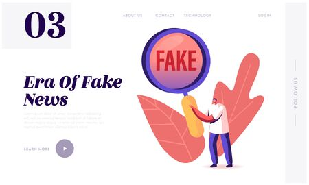 Social Media Forgery Information Landing Page Template. Male Character with Huge Magnifying Glass Looking on Fake News. People Blabber, Read False Info, Spreading Scandals. Cartoon Vector Illustration