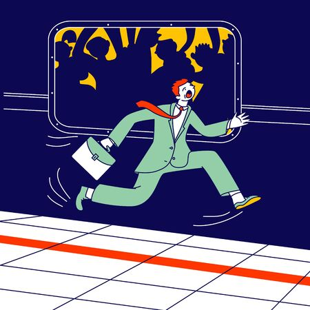 Businessman with Briefcase in Hand Running along Subway Train Platform Hurry to Sit in Metro Van