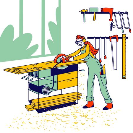 Woman Work in Carpentry Shop Concept. Girl Carpenter Character Wearing Overalls and Protective Glasses Working with Equipment and Electric Saw on Wooden Table Cutting Board. Linear Vector Illustration