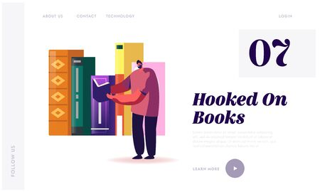 Education, Gaining Knowledge Landing Page Template. Tiny Man Student Character Stand on Bookshelf with Huge Books Learning Homework or Prepare to Exams in University. Cartoon Vector Illustration