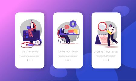 Audit Mobile App Page Onboard Screen Template. Financial Inspector and Secretary Characters Making Report Calculating Balance. Tiny People Auditing Tax Process. Concept. Cartoon Vector Illustration